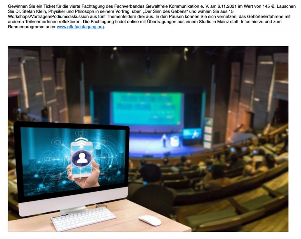 Fachverband GFK e.V.:Gewinnen Sie ein Ticket für die vierte Fachtagung des Fachverbandes Gewaltfreie Kommunikation e. V. am 6.11.2021 im Wert von 145 €.
