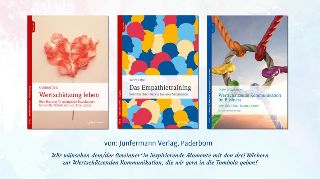 Junfermann-Verlag: Wir wünschen dem/der Gewinner:in inspirierende Momente mit den drei Büchern zur Wertschätzenden Kommunikation, die wir gern in die Tombola geben!