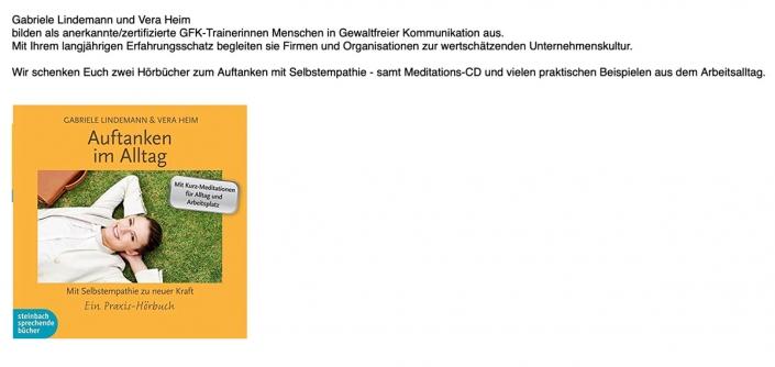 Gabriele Lindemann & Vera Heim: Wir schenken Euch zwei Hörbücher zum Auftanken mit Selbstempathie - samt Meditations-CD und vielen praktischen Beispielen aus dem Arbeitsalltag