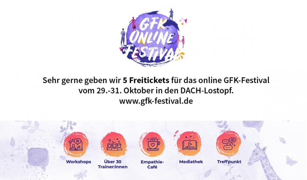 SeminarGourmets und Muutos e.V.: sehr gerne geben wir 5 Freitickets für das online GFK-Festival vom 29.-31. Oktober in den Lostopf