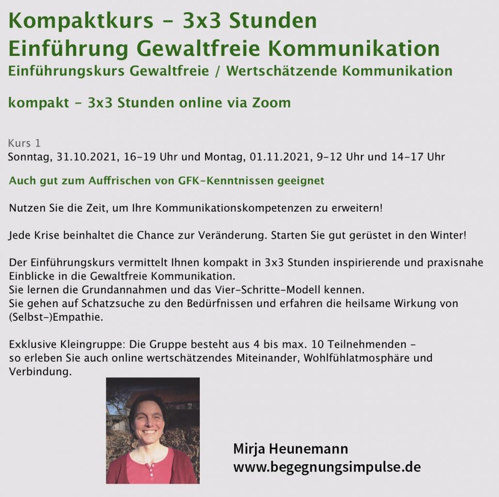 Mirja Heunemann: Ich lege einen kostenlosen Seminarplatz in meinem Online-GFK Einführungskurs am So., 31.10.21, 16-19 Uhr & Mo., 01.11.21, 09-12 und 14-17 Uhr in den Lostopf.
