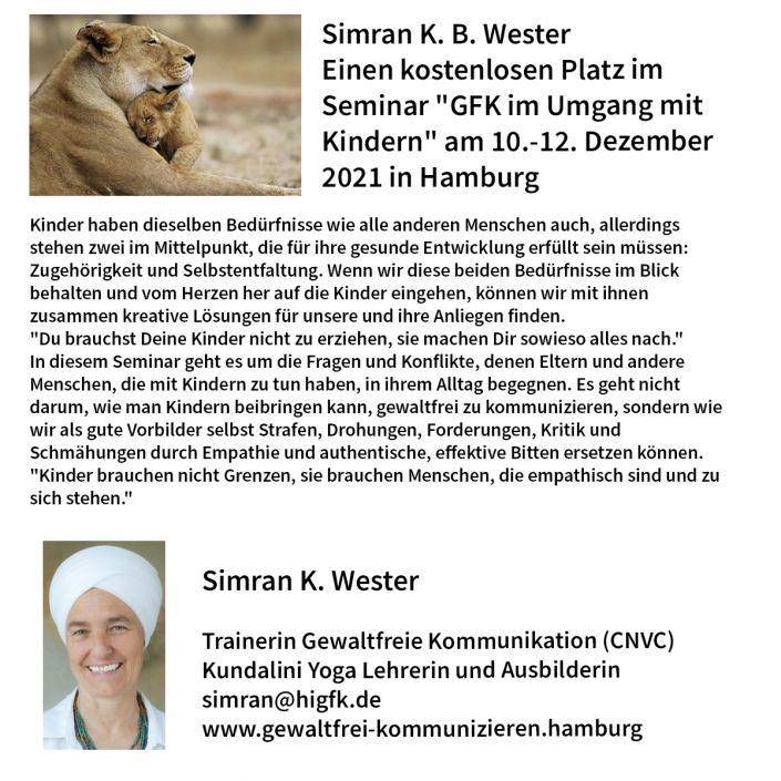 """Simran K. Wester: Einen kostenlosen Platz im Seminar """"GFK im Umgang mit Kindern"""" am 10.-12. Dezember 2021 in Hamburg"""