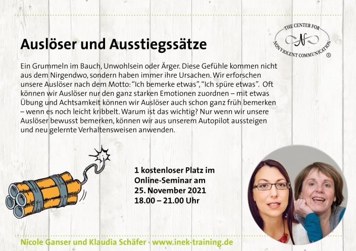 """Nicole Ganser und Klaudia Schäfer: einen kostenlosen Platz beim Workshop """"Auslöser und Ausstiegssätze"""" am 25. November"""