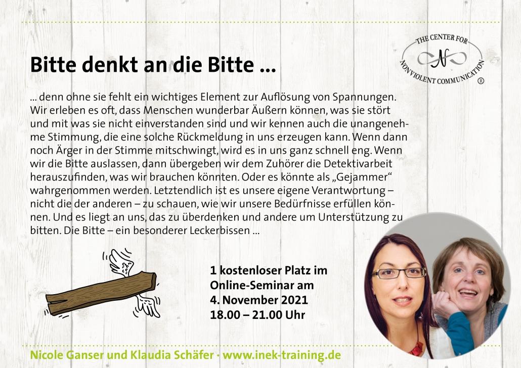 """Klaudia Schäfer und Nicole Ganser: einen kostenlosen Platz beim Workshop """"Bitte denkt an die Bitte"""" am 4. November"""