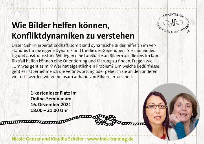 """Nicole Ganser und Klaudia Schäfer: einen kostenlosen Platz beim Workshop """"Wie Bilder helfen können, Konfliktdynamiken zu verstehen"""" am 16. Dezember"""