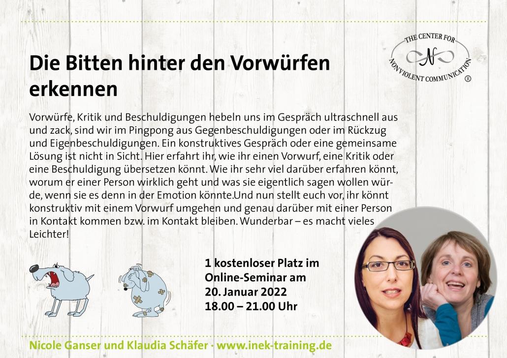 """Nicole Ganser und Klaudia Schäfer:: einen kostenlosen Platz beim Workshop """"Die Bitten hinter den Vorwürfen erkennen"""" am 20. Januar"""