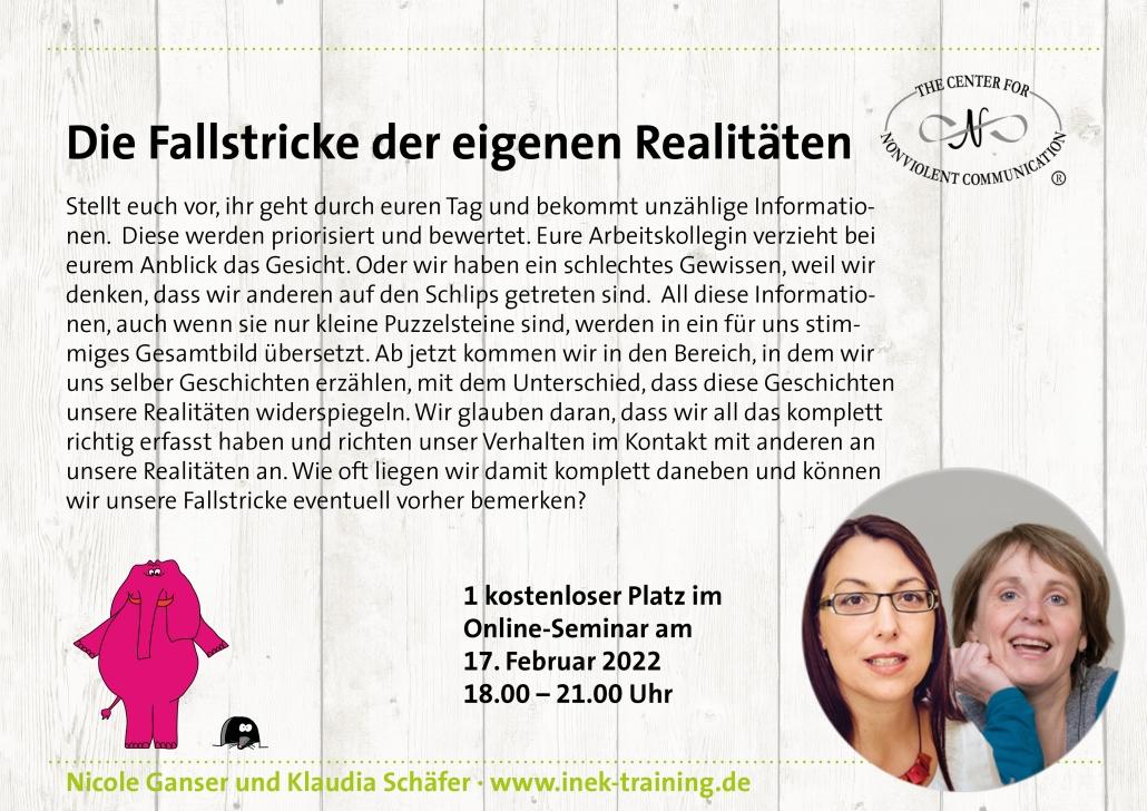 """Klaudia Schäfer und Nicole Ganser: einen kostenlosen Platz beim Workshop """"Die Fallstricke der eigenen Realitäten"""" am 17. Februar"""
