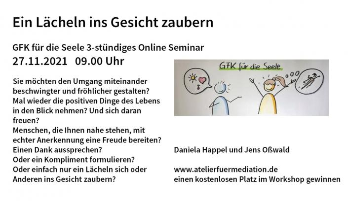 """Daniela Happel und Jens Oßwald: wir legen ein kostenlosen Workshopplatz """"GFK für die Seele - Mit GFK ein Lächeln ins Gesicht zaubern"""" in die Tombola"""